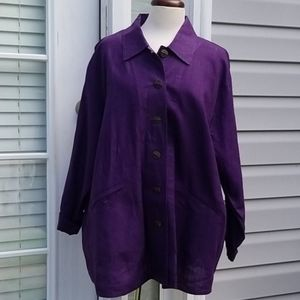 Flax Linen Oversize Boho Button Top Violet size 1G